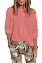 Pink Cut Out Shoulder Sweatshirt LC253475-10