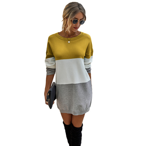 Yellow Colorblock Long Sleeve Sweater Dress TQK310373-7