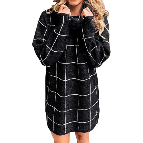 Black Plaid Print Turndown Collar Sweater Dress TQK310376-2