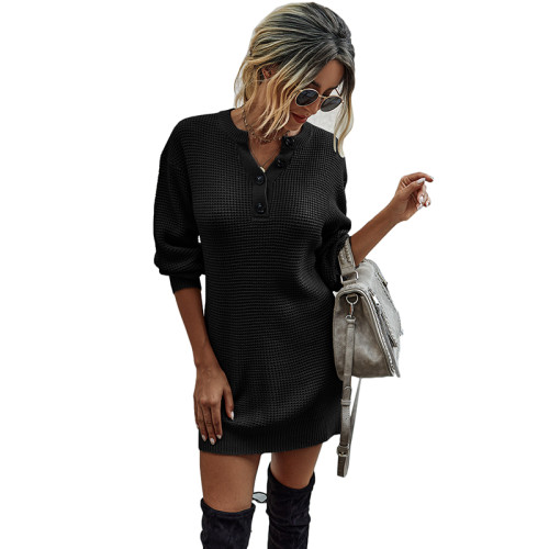 Black Button Neck Knit Sweater Dress TQK310372-2