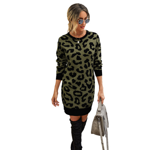 Army Green Leopard Print Bodycon Sweater Dress TQK310374-27