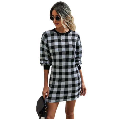 Black Gingham Print Long Sleeve Sweater Dress TQK310375-2
