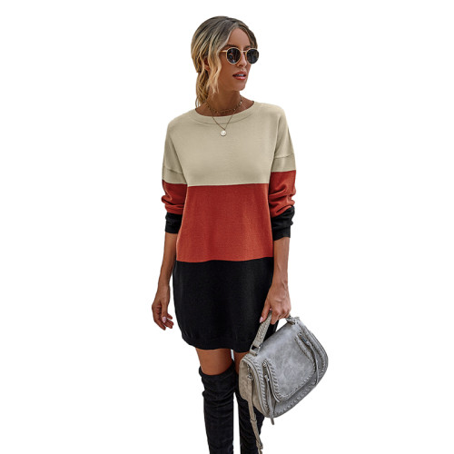 Red Colorblock Long Sleeve Sweater Dress TQK310373-3