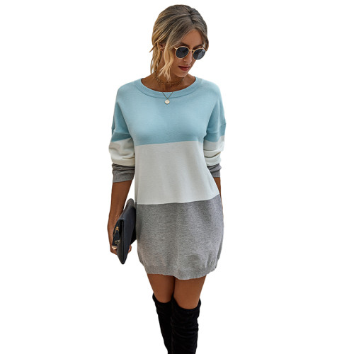 Light Blue Colorblock Long Sleeve Sweater Dress TQK310373-30