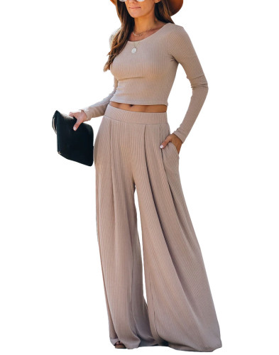 Khaki Loungewear Long Sleeve Top with Pant Set TQK710130-21