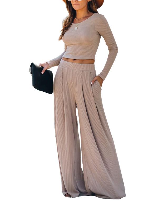Khaki Loungewear Long Sleeve Top with Pant Set TQK710130-21