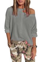 Gray Cut Out Shoulder Sweatshirt LC253475-11