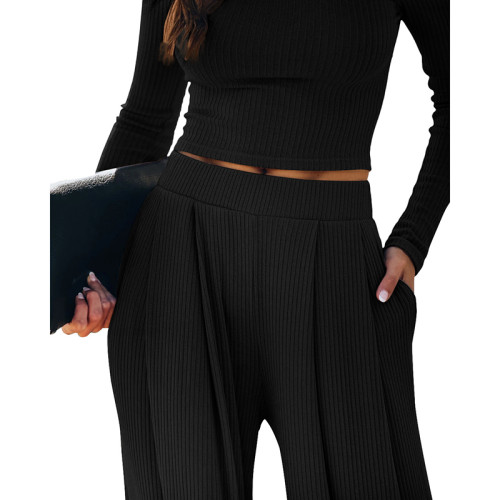 Black Loungewear Long Sleeve Top with Pant Set TQK710130-2