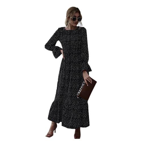 Black Polka Dot Smocking Maxi Dress TQK310371-2