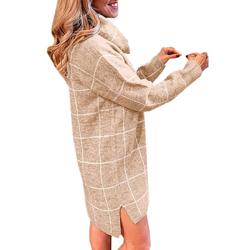 Khaki Plaid Print Turndown Collar Sweater Dress TQK310376-21
