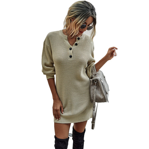 Apricot Button Neck Knit Sweater Dress TQK310372-18