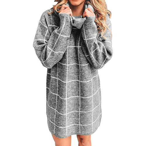 Gray Plaid Print Turndown Collar Sweater Dress TQK310376-11