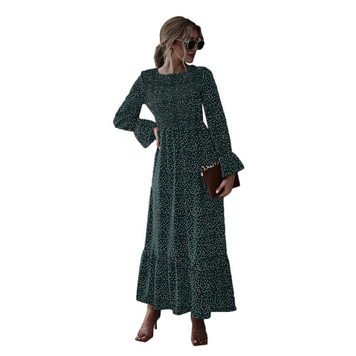 Dark Green Polka Dot Smocking Maxi Dress TQK310371-36
