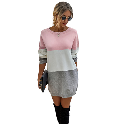 Pink Colorblock Long Sleeve Sweater Dress TQK310373-10