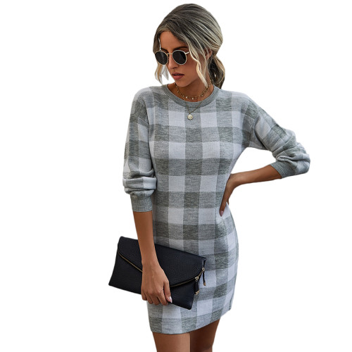 Gray Gingham Print Long Sleeve Sweater Dress TQK310375-11