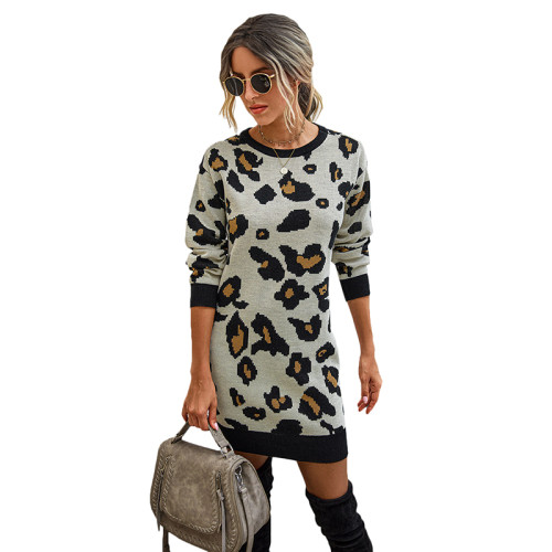 Apricot Leopard Print Bodycon Sweater Dress TQK310374-18