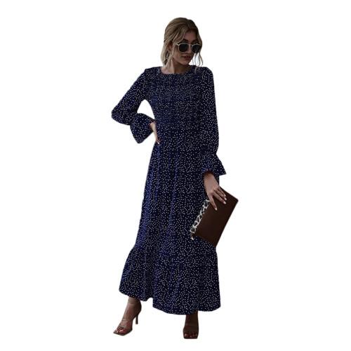 Navy Blue Polka Dot Smocking Maxi Dress TQK310371-34