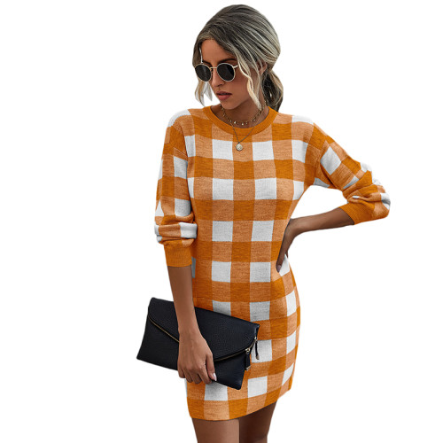 Orange Gingham Print Long Sleeve Sweater Dress TQK310375-14
