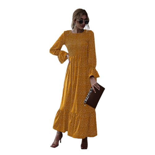 Yellow Polka Dot Smocking Maxi Dress TQK310371-7