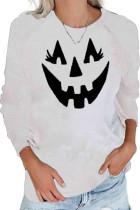White Crew Neck Pumpkin Print Halloween Sweatshirt LC2531705-15