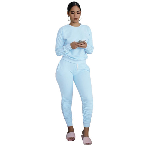 Light Blue Cotton Blend Sweatshirt Joggers Loungewear Set TQK710133-30