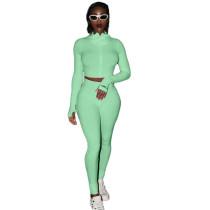 Light Green Cotton Blend Zipper Datail Long Sleeve Top with Pant Set TQK710132-28