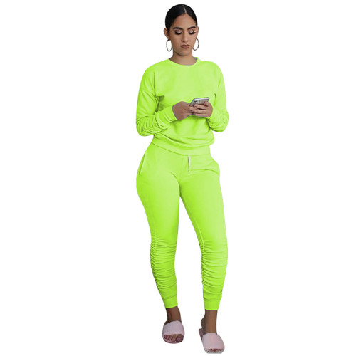 Green Cotton Blend Sweatshirt Joggers Loungewear Set TQK710133-28