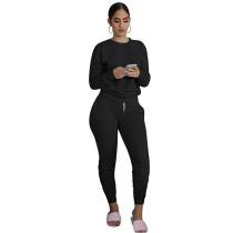 Black Cotton Blend Sweatshirt Joggers Loungewear Set TQK710133-2