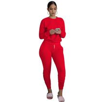 Red Cotton Blend Sweatshirt Joggers Loungewear Set TQK710133-3