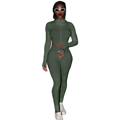 Army Green Cotton Blend Zipper Datail Long Sleeve Top with Pant Set TQK710132-27