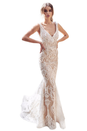 White V Neck Sequined Embroidering Tulle Mermaid Dress LC611891-1