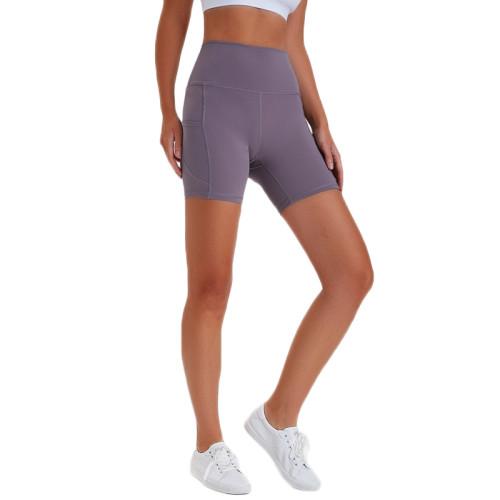 Gray High Waist Butt Lift  Yoga Shorts TQE82008-56