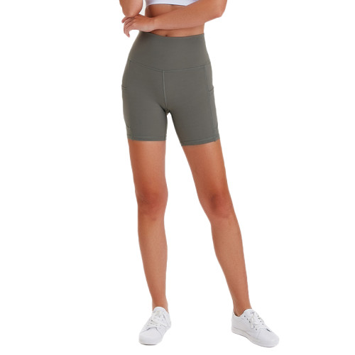 Green High Waist Butt Lift  Yoga Shorts TQE82008-52