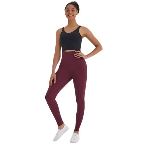 Wine Red High Waist Leggings Yoga Pants TQE52007-103