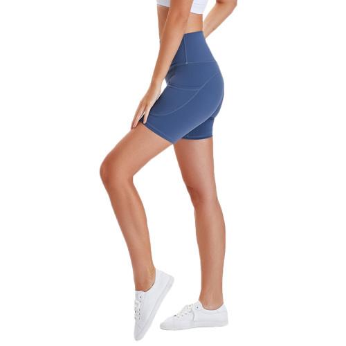 Blue High Waist Butt Lift  Yoga Shorts TQE82008-64