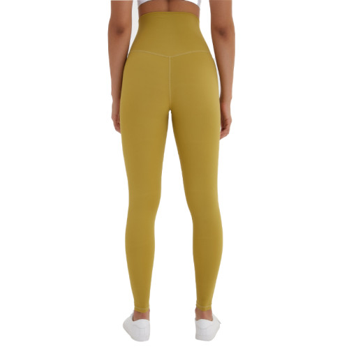 Yellow High Waist Leggings Yoga Pants TQE52007-53