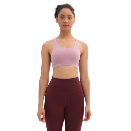 Light Pink Mesh Yoga Sport Bra TQE92006-39