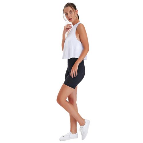 Black High Waist Butt Lift  Yoga Shorts TQE82008-2