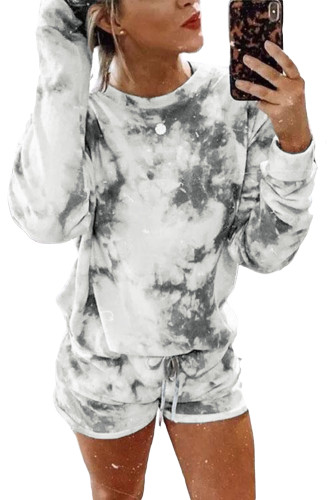 Tie-dye Long Sleeve Top and Shorts Two-piece Set LC451227-11