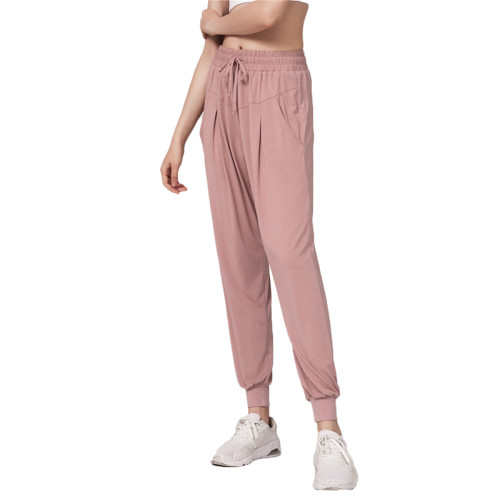 Pink Drawstring Casual Sports Pants TQE64011-10