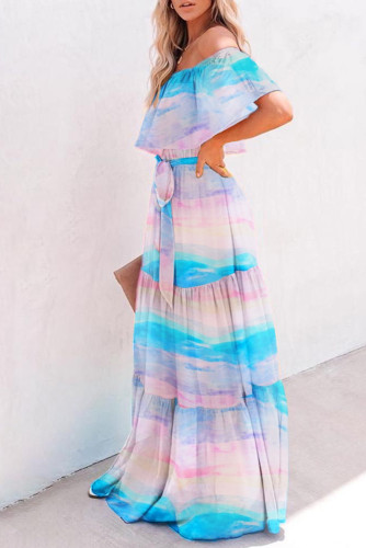 Sky Blue Printed Off-the-shoulder Tiered Maxi Dress LC611848-4