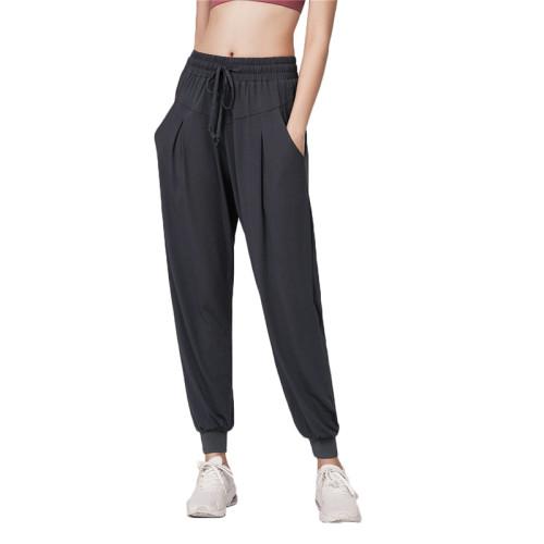 Gray Drawstring Casual Sports Pants TQE64011-11