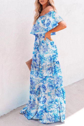 Floral Printed Off-the-shoulder Tiered Maxi Dress LC611848-104