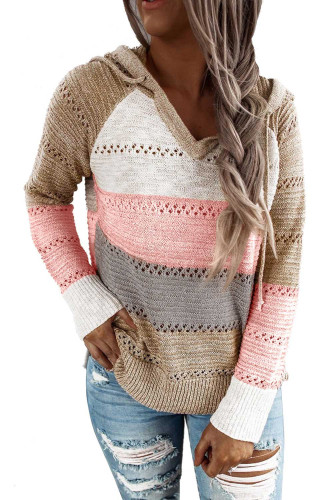 Multicolor Beach Bonfire Knitted Hoodie LC253742-22