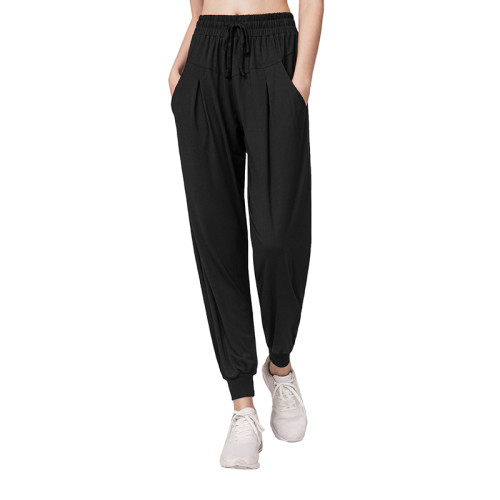 Black Drawstring Casual Sports Pants TQE64011-2