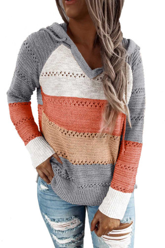 Gray Beach Bonfire Knitted Hoodie LC253742-11