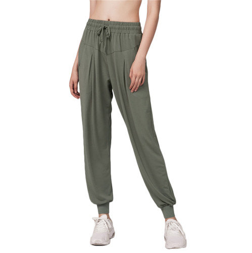 Army Green Drawstring Casual Sports Pants TQE64011-27