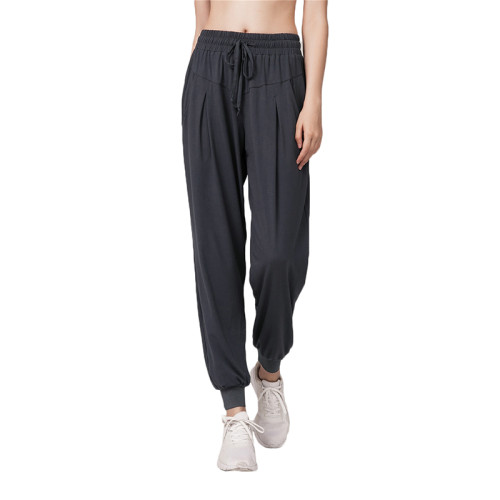 Gray Drawstring Casual Sports Pants TQE64011-11