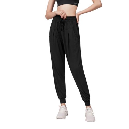 Black Drawstring Casual Sports Pants TQE64011-2