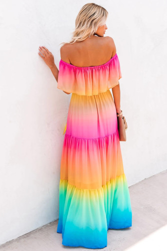 Rainbow Skies Off-the-shoulder Tiered Maxi Dress LC611848-22